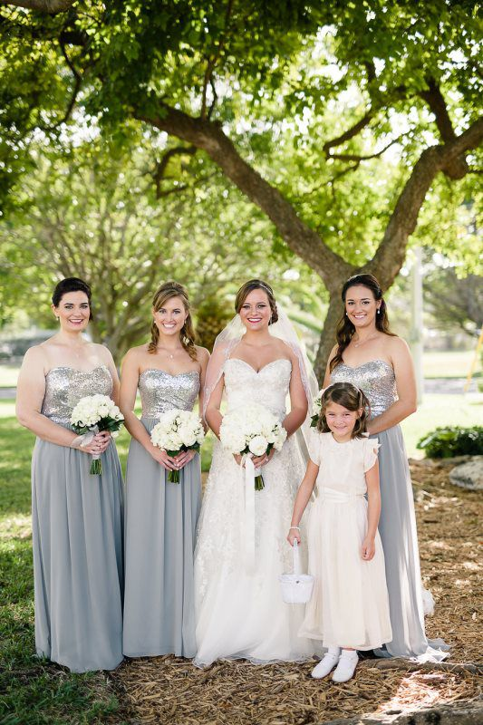 Silver And White Themed Wedding Silver Bridesmaids Resort Wedding