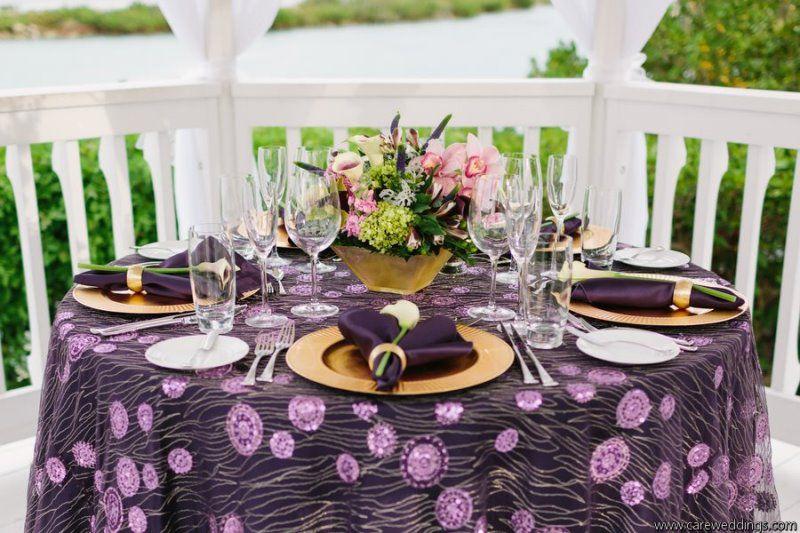 Purple And Gold Wedding Reception Resort Wedding Photo Gallery