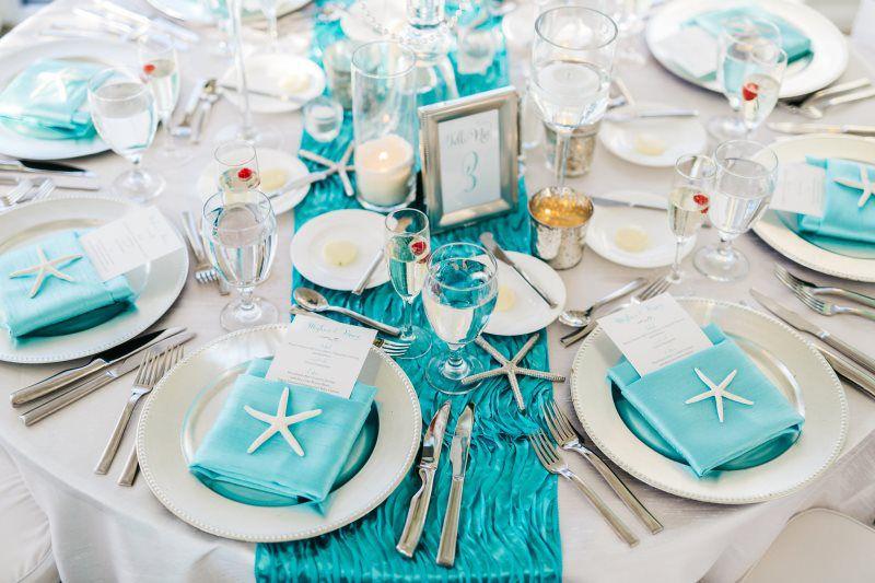 Turquoise And Silver Wedding Reception Starfish Decor Resort